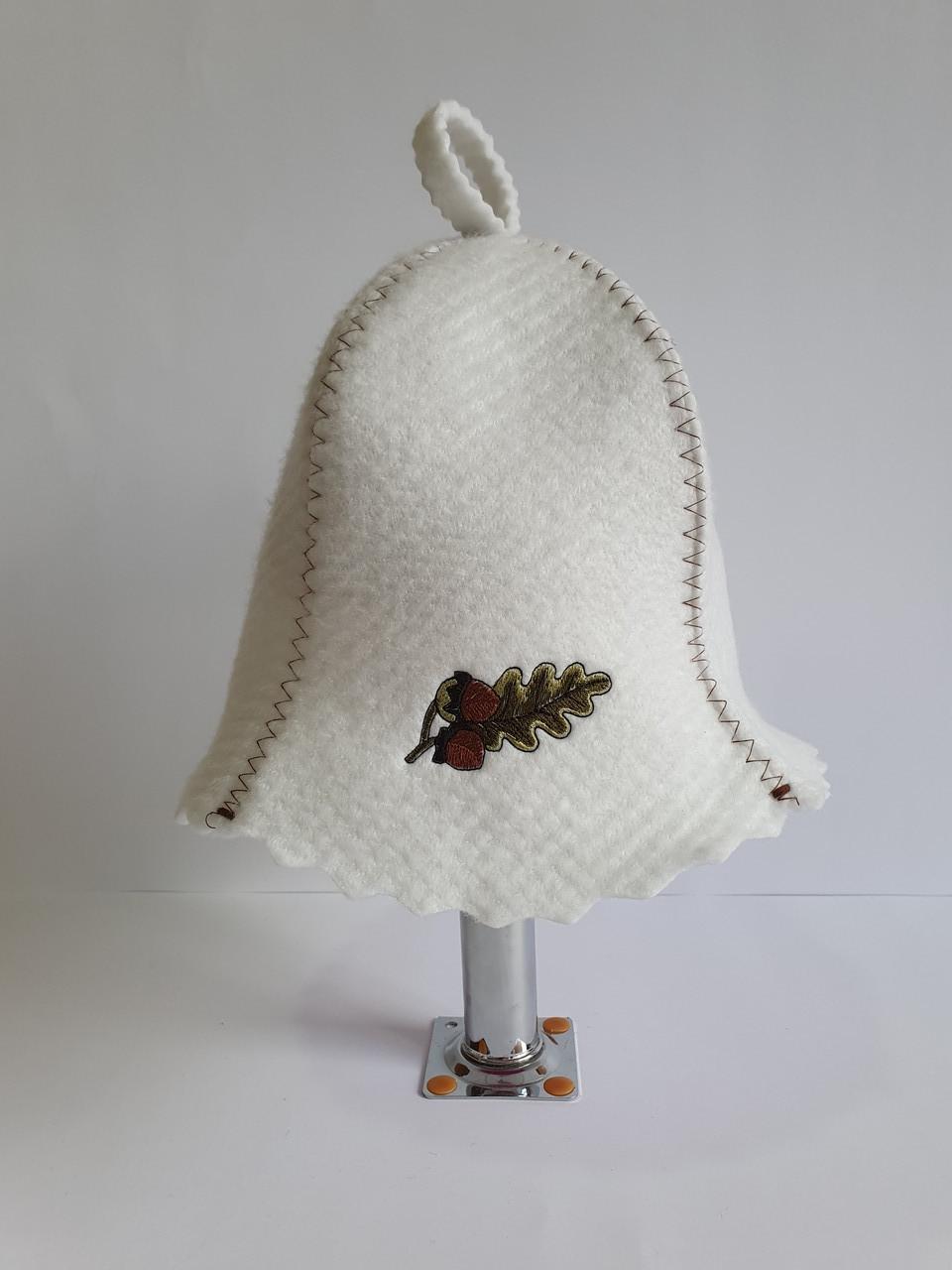 Шапка для бані та сауни з яскравою вишивкою Дубовий листок