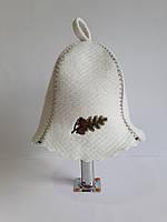 Шапка для бані та сауни з яскравою вишивкою Дубовий листок, фото 1