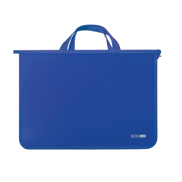 Портфель пластиковый ECONOMIX E31630-02, А4, 2 отделения, на молнии, синий