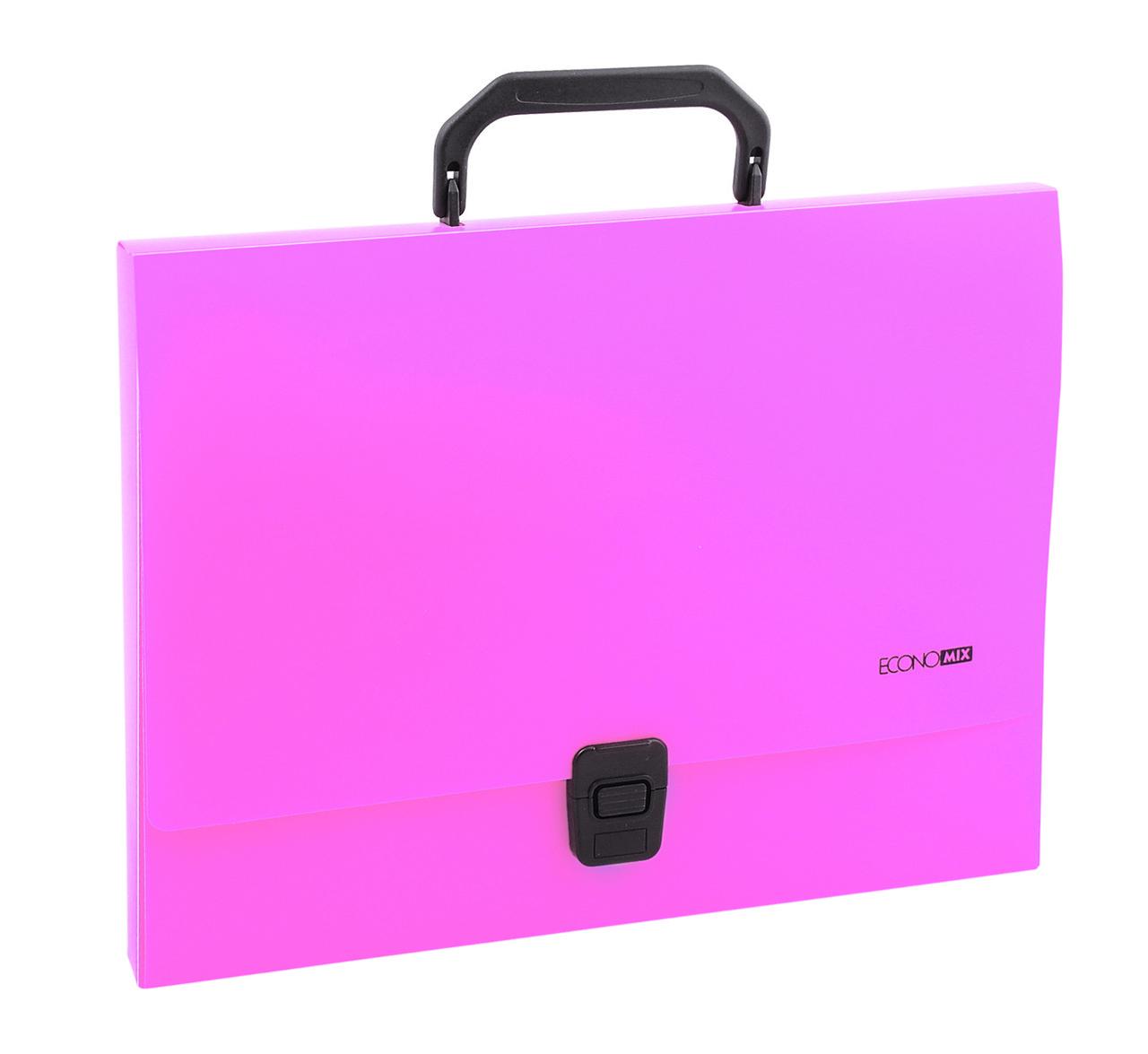 Портфель пластиковый ECONOMIX E31607-09, А4, 1 отделения, на застежке, розовый