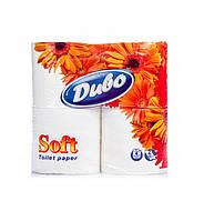Туалетная бумага Диво белая 4 шт , 2-х слойная на гильзе (большая намотка)