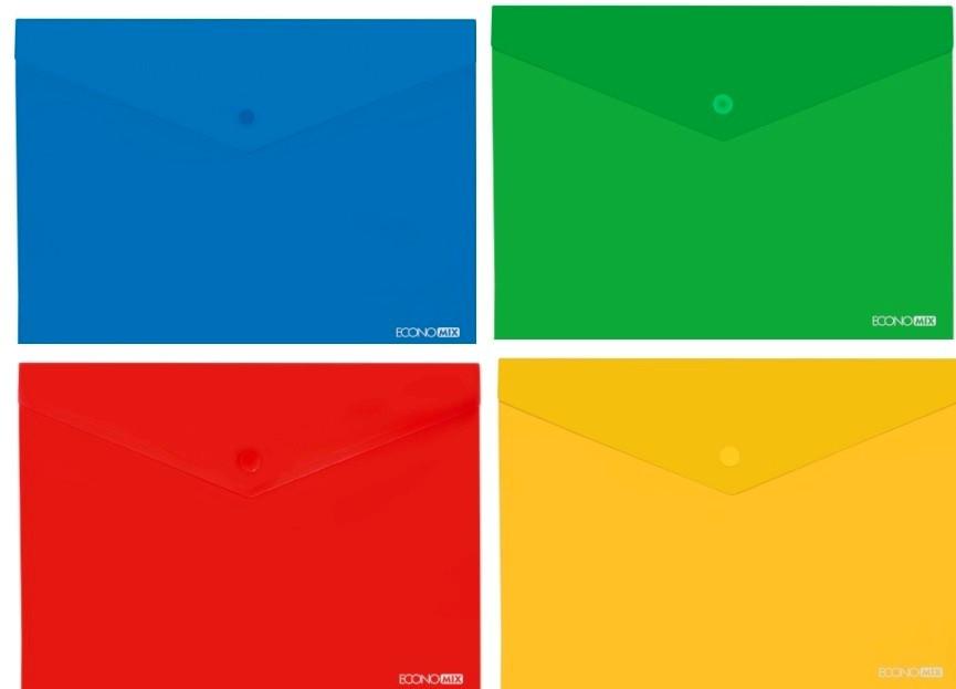Папка-конверт на кнопке А4 Economix E31301 прозрачная 180 мкм глянец цвет mix (12/1)