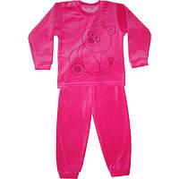 Пижама велюровая на девочку розовая Панда 86-104 р