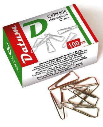Скрепка никелированная Datum D1720, 25мм 100шт, треугольная (300083) (10 уп. в коробке)