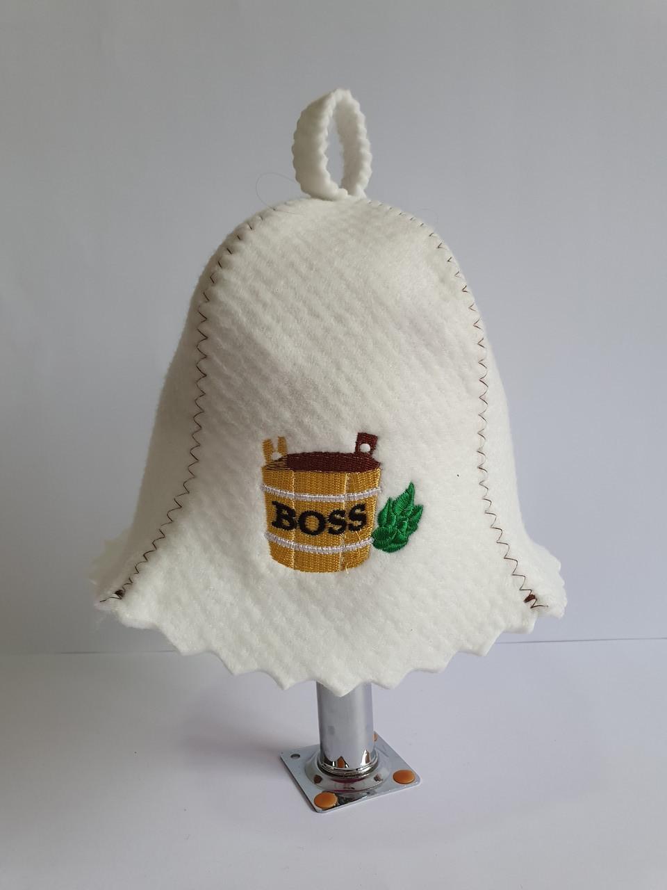 Шапка для бані та сауни з яскравою вишивкою Діжечка Boss