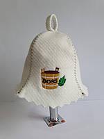 Шапка для бані та сауни з яскравою вишивкою Діжечка Boss, фото 1