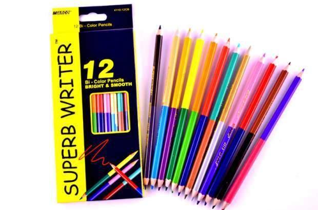 Карандаши цветные двухсторонние 12 шт/24 цвета Marco Super Writer 4110-12CB (12 шт в уп.)