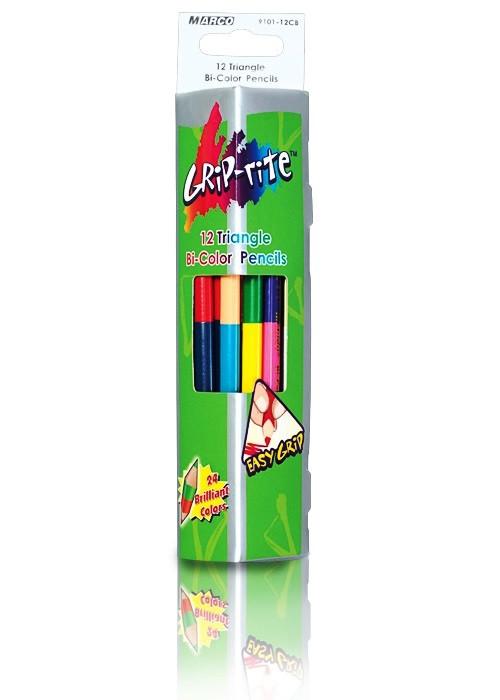 Карандаши цветные двухсторонние 12 шт/24 цвета Marco Grip-Rite треугольные 9101-12CB (12 шт в уп)