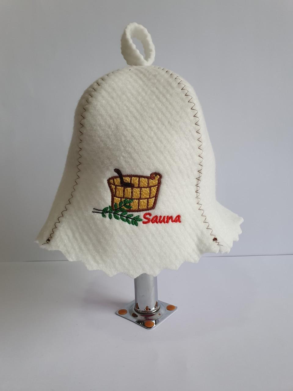 Шапка для бані та сауни з яскравою вишивкою Кадушка Sauna