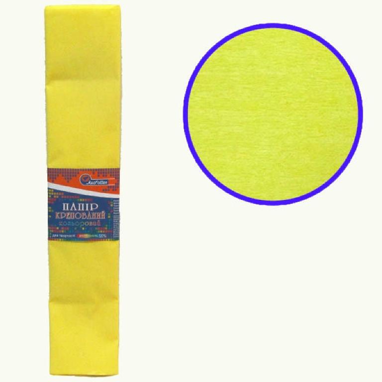 Бумага крепированная цветная 110%, 50х200 см, цвет светло-жёлтый KR110-8014 (10/1)