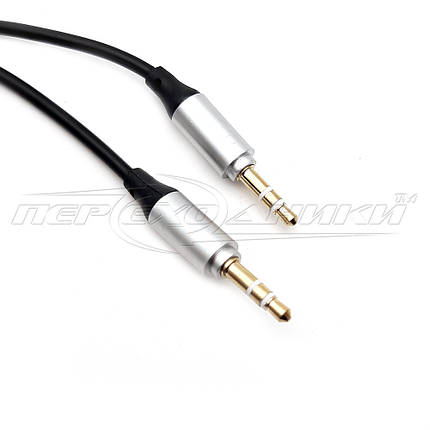 Аудио кабель AUX 3.5 mm jack 1 м, спиральный черный, фото 2