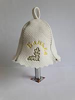 Шапка для бані та сауни з яскравою вишивкою Банька, фото 1