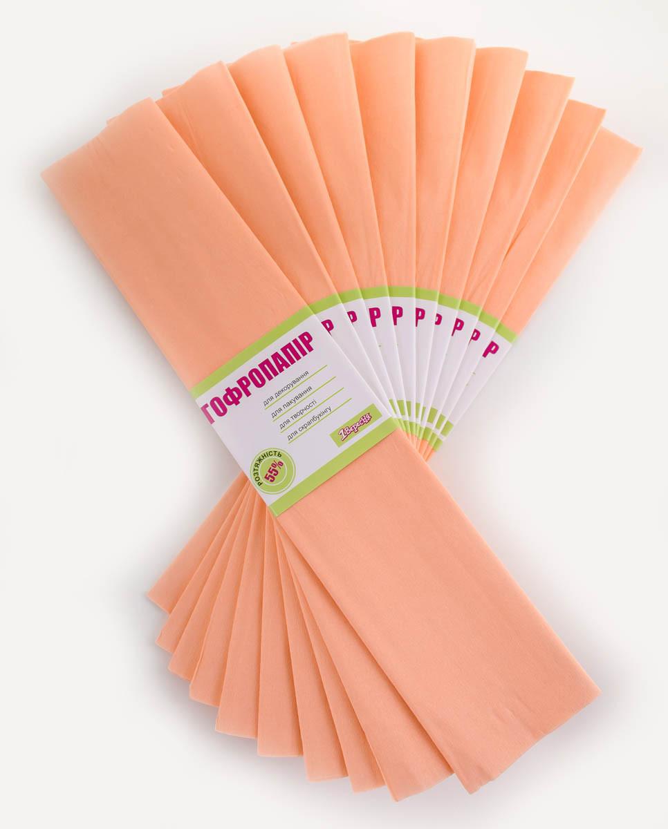 Бумага гофрированная 1 Вересня, 55%,  50*200см, цвет персиковый 705391 (10/1)