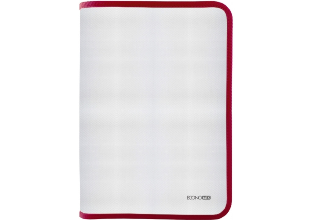 Папка для тетрадей В5 на молнии Economix E31645-03, пластик, фактура ткань, красная