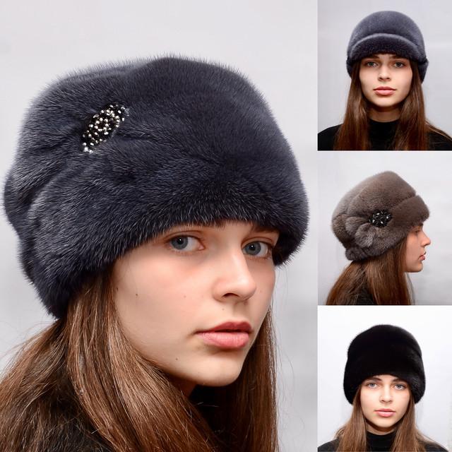 Женские норковые шапки из меха цельной норки