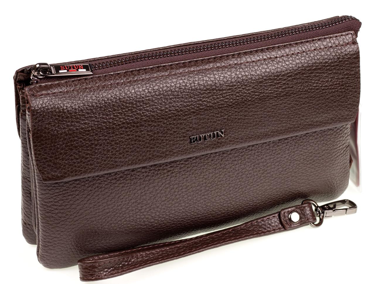 Мужской клатч барсетка Butun 016-004-004 кожаная коричневая
