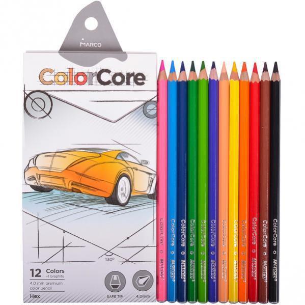 Карандаши цветные 12 цветов Marco ColorCore 3100-12CB + карандаш графитный НВ (12 шт в уп.)