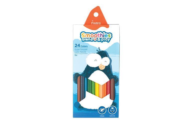 Карандаши цветные 24 цветоа Marco Smoothies треугольные, супермягкие 2150-24CB