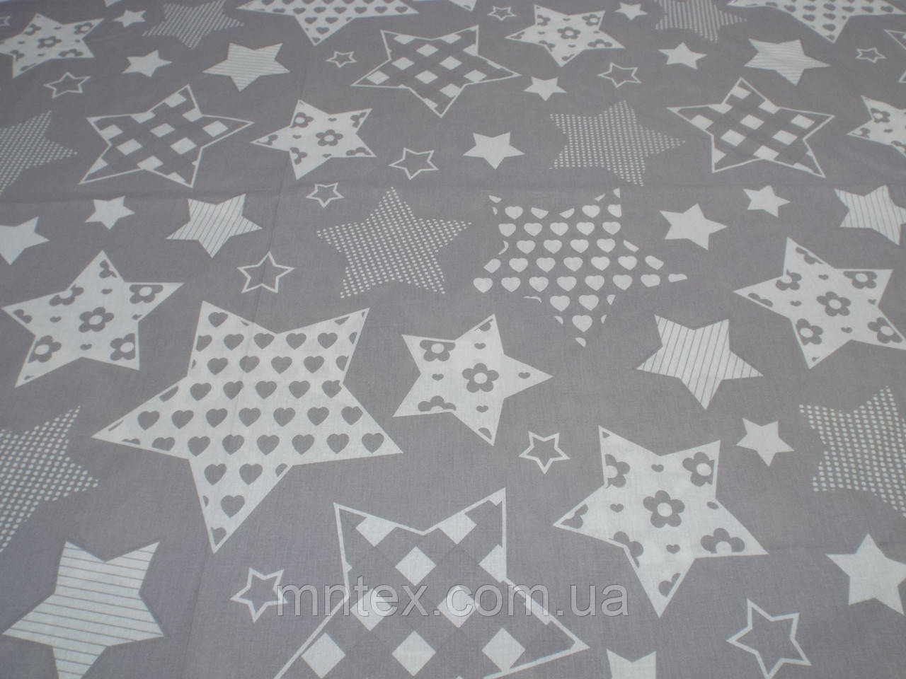 Ткань для пошива постельного белья бязь Белорусь ГОСТ Звездочки на сером