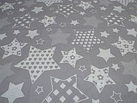 Ткань для пошива постельного белья бязь Белорусь ГОСТ Звездочки на сером, фото 1