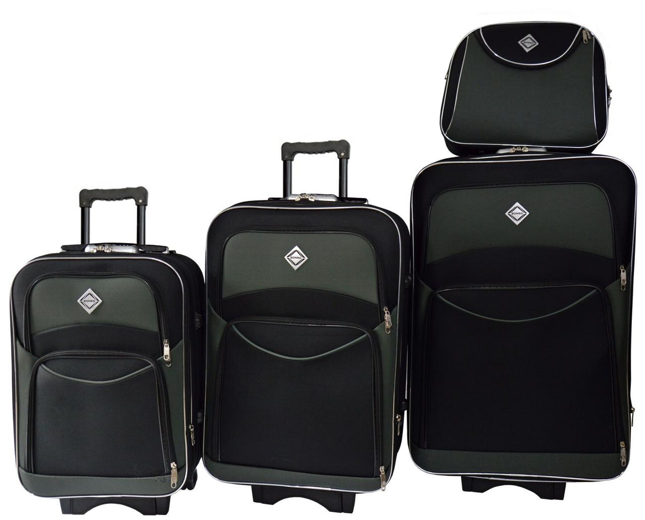 Набір валіз і кейс 4 в 1 Bonro Style чорно-сірий (10120404)