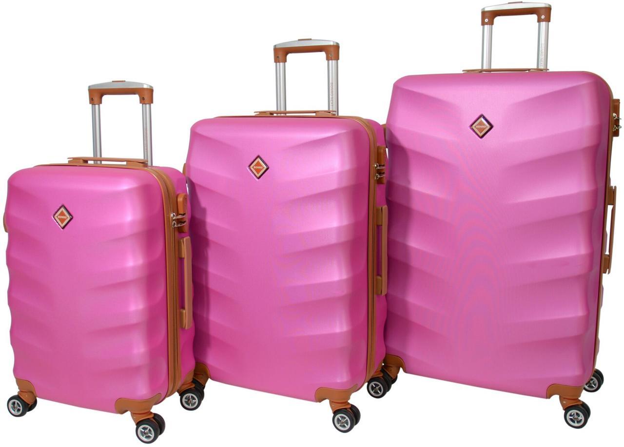 Набір валіз Bonro Next 3 штуки рожевий (10642306)