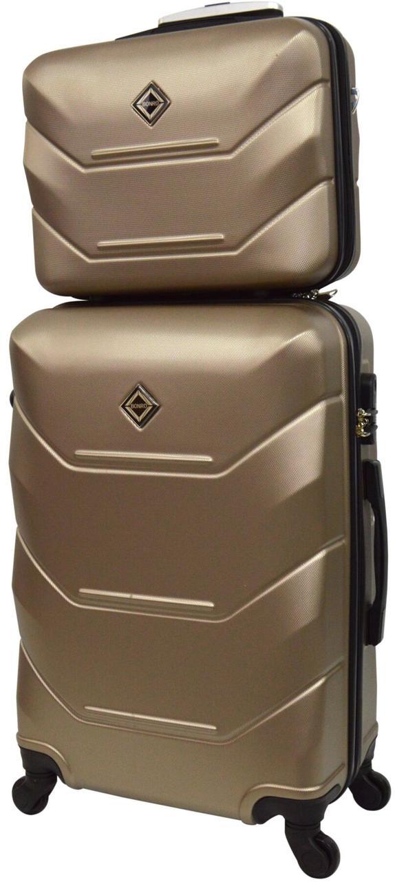 Комплект валіза і кейс Bonro 2019 середній шампань (10501108)