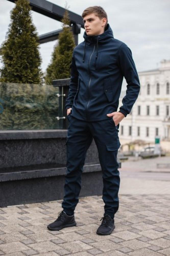 Чоловічий костюм синій демісезонний Softshell Intruder. Куртка чоловіча синя, штани утеплені. Ключниця в подарунок