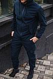 Чоловічий костюм синій демісезонний Softshell Intruder. Куртка чоловіча синя, штани утеплені. Ключниця в подарунок, фото 2