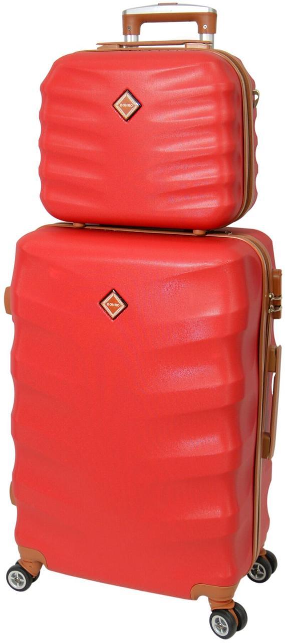 Комплект валіза і кейс Bonro Next середній бордовий (10066804)
