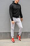 Мужской спортивный костюм черная худи и серые штаны (весна-осень), фото 3