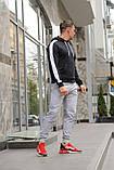Мужской спортивный костюм черная худи с лампасами и серые штаны (весна-осень), фото 2
