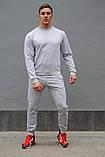 Серый мужской спортивный костюм - свитшот и штаны (весна-осень), фото 4