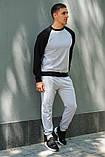 Мужской спортивный костюм - серый свитшот с черными рукавами и серые штаны (весна-осень), фото 3