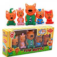 Игровой набор резиновых игрушек пищалок Три кота PT3014