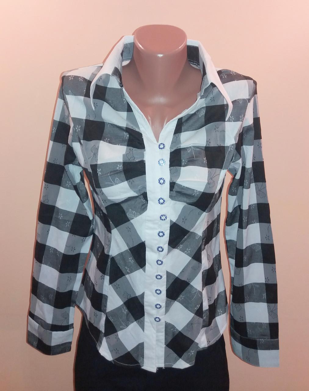 Блуза женская Fashion р.42 Клетка черно-белая