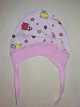 Шапочка на завязках чепчик для девочки Mine на 0-3 месяца Розовый
