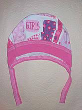 Шапочка на завязках чепчик для девочки Girls на 0-3 месяца Розовый