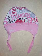 Шапочка на завязках чепчик для девочки Fleuri на 0-3 месяца Розовый