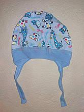 Шапочка на завязках чепчик для мальчика Mine на 0-3 месяца Голубой