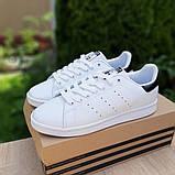 Мужские кроссовки Adidas Stan Smith Белые с чёрным, фото 3