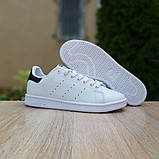 Мужские кроссовки Adidas Stan Smith Белые с чёрным, фото 4