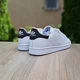 Мужские кроссовки Adidas Stan Smith Белые с чёрным, фото 5