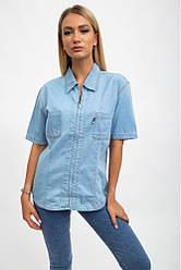 Рубашка женская джинсовая с карманами голубая 1935