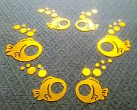 """Акриловые наклейки в ванную 6шт набор на стены """"зеркальные круглые рыбки"""" золото"""