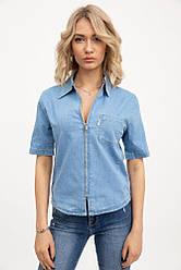 Рубашка женская джинсовая с карманом голубая 1180