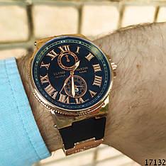 Мужские наручные часы золотые в стиле Ulysse Nardin. Годинник чоловічий
