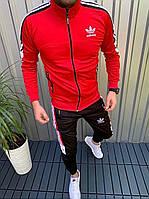 Спортивный костюм Adidas черно-красный мужской осенний весенний Олимпийка + Штаны Адидас | ЛЮКС