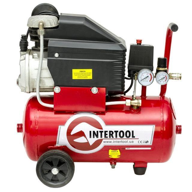 Компрессор 24 л, 1.5 кВт, 8 атм, 206 л/мин INTERTOOL PT-0010