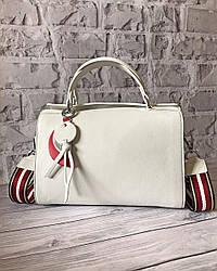 Женская кожаная сумка белая с двумя ремнями